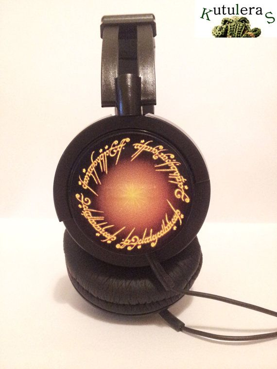 HEADPHONES LORD RINGS pc geek hobbit bilbo gandalf por Kutuleras