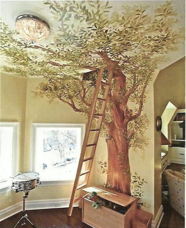 tree mural - ladder leads to loft hideaway - tree onto ceiling naturally