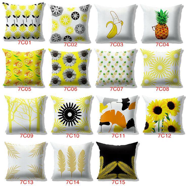 Sunflower Pineapple 15Design Optional Waist Cushion Cover Pillow Case Home Decor