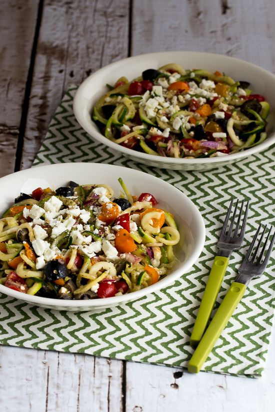 Greek Style Zucchini Noodles with Tomatoes, Olives, and Feta (Low-Carb, Gluten-Free, South Beach Diet) found on KalynsKitchen.com