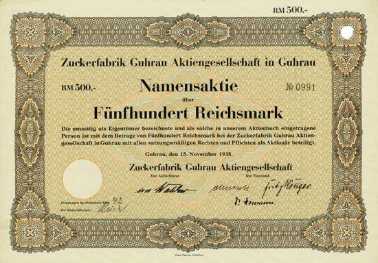 HWPH AG - Historische Wertpapiere - Zuckerfabrik Guhrau AG Guhrau, 15.11.1935, Namensaktie über 500 RM, #991
