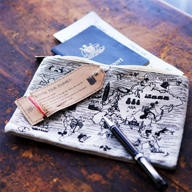 Stitch Your Journey Pencil Case  Head around the world in 80 stitches.    Use the included needle and embroidery thread to stitch all your worldly travels. Perfect size for a pencil case, travel pouch or make up bag.