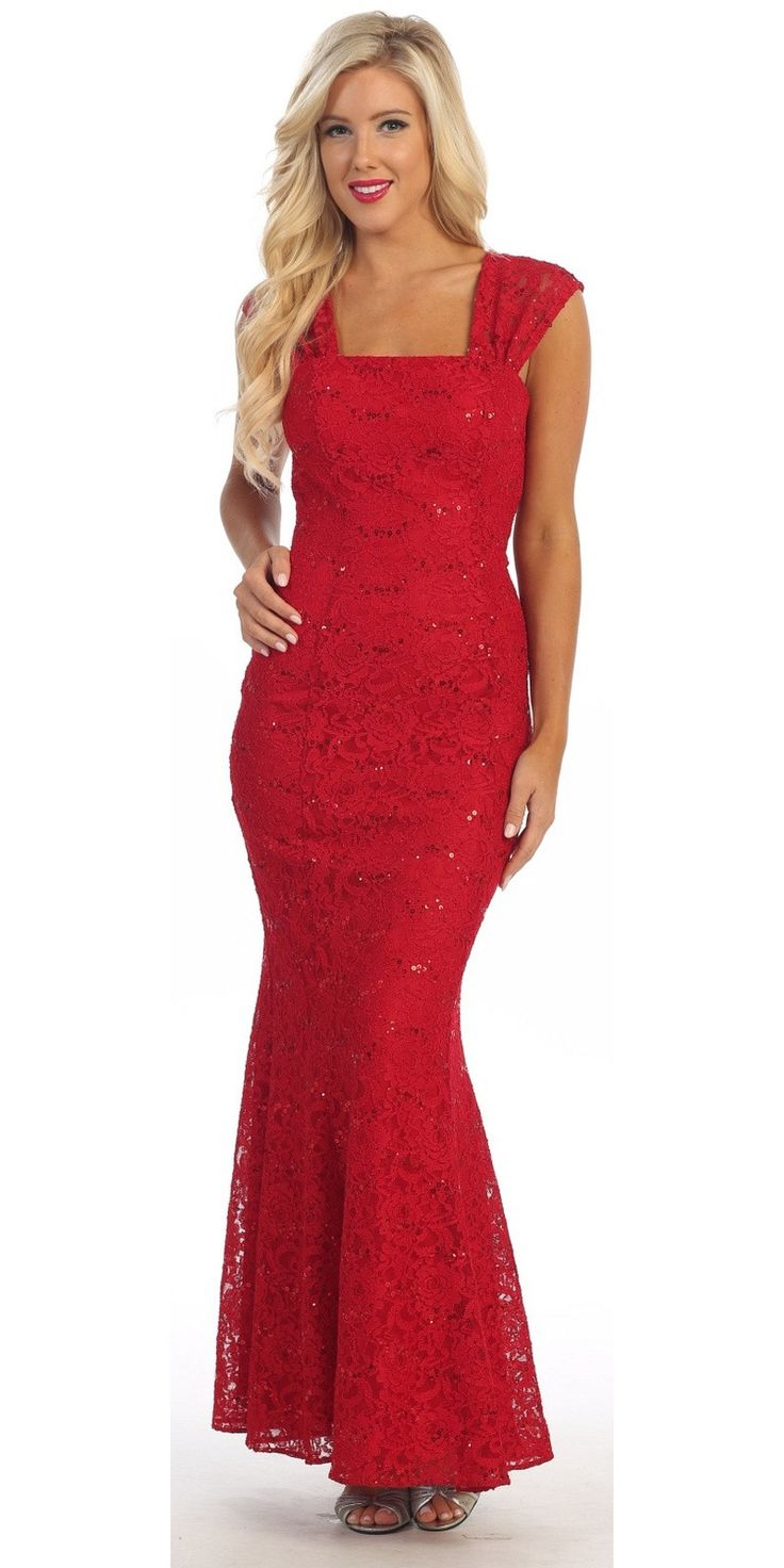 Long Lace Mermaid Dress Red Wide Straps Open Back