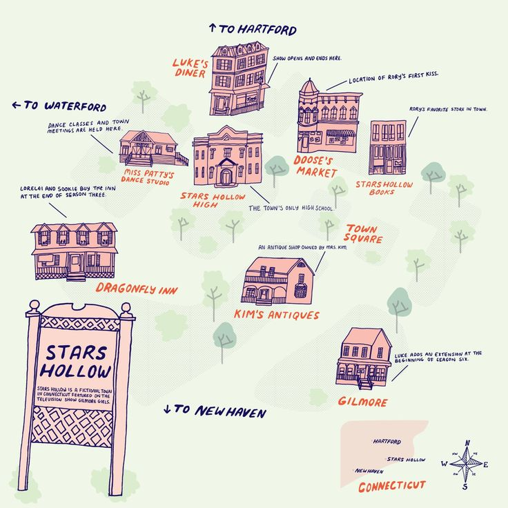 gilmore girls stars hollow map
