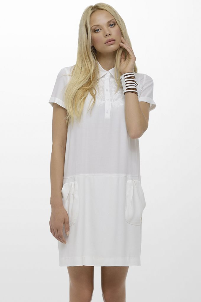 Sarah Lawrence - short sleeved dress with embroidery.