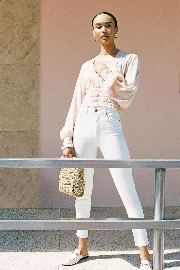 Free People Smocked in Love Blouse, Levi's Wedgie Icon High Rise Jean and Dreamland Straw Clutch