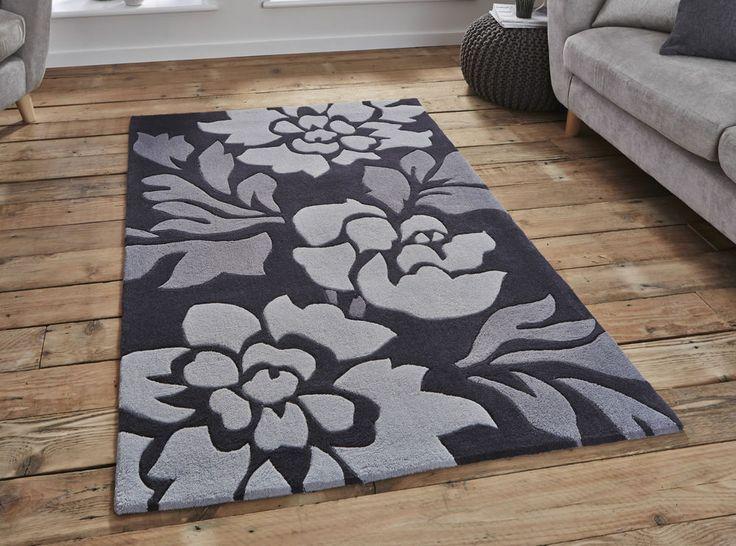 CLEARANCE Modern Grey Floral  Rug 150 x 230cm-hand tufted acrylic rug