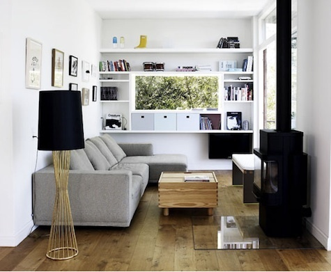 I like the wall of shelves, the tv would be across still and the windows and door would be about where the picture is taken from. :)