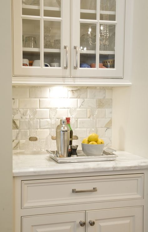 Austin Bean Design Studio - kitchens - white cabinets, white cabinetry, white kitchen cabinets, white kitchen cabinetry, nickel hardware, ma... drink station