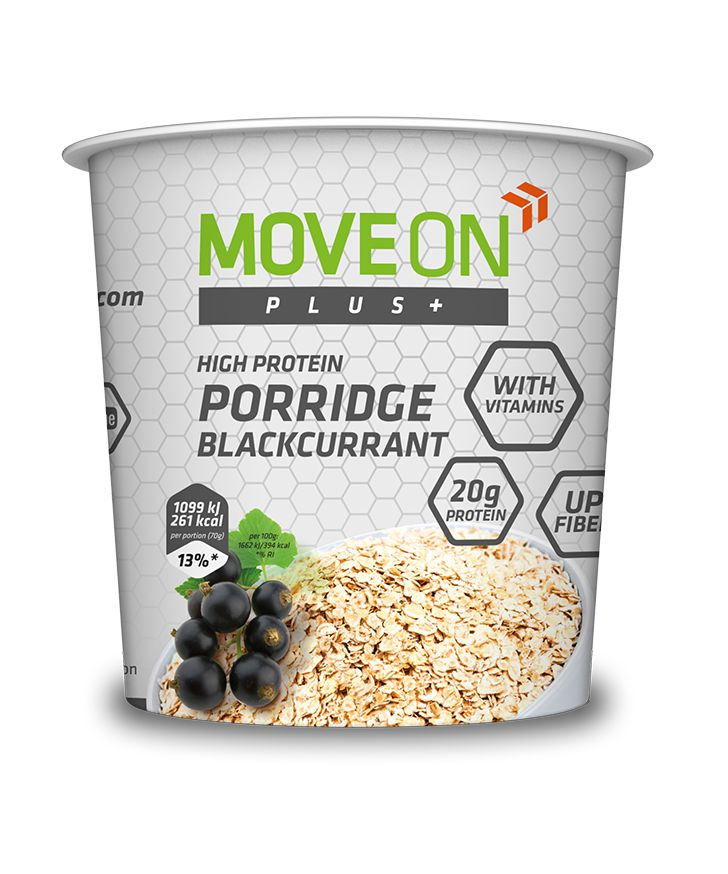Owsianka czarna porzeczka wzbogacona witaminami i białkiem, słodzona ksylitolem - 70 g.  | Porridge with vitamins and proteins blackcurrant. #moveon #moveonpl #moveonsport #porridge #owsianka #protein #healthy #food #fit #vitamins #nutrition #sport
