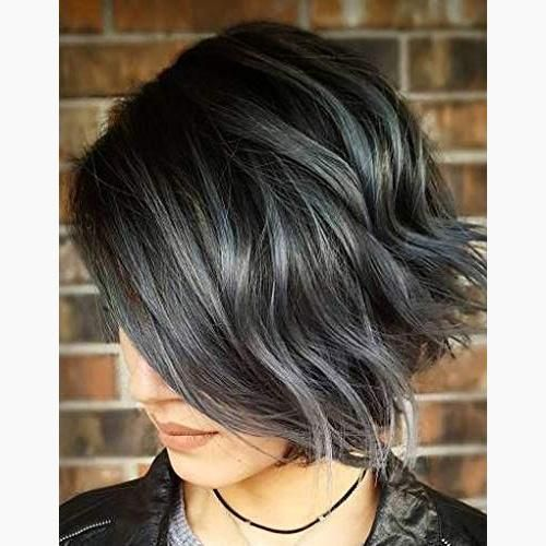 Bob Wigs Human Hair Black Color Fading to Multicolor Curly Human Wigs