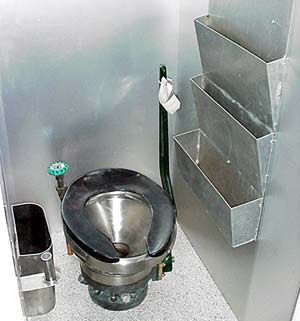 Submarine toilet... (don't pull that green handle when they are blowing sanitaries)