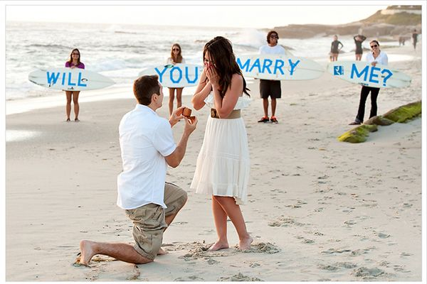 Beach Proposal~Beach Proposal: Proposing on a beach is the perfect place for laid-back couples. With long walks on the beach being a romantic staple, it is the ultimate proposal place for people who love the sand and sea.