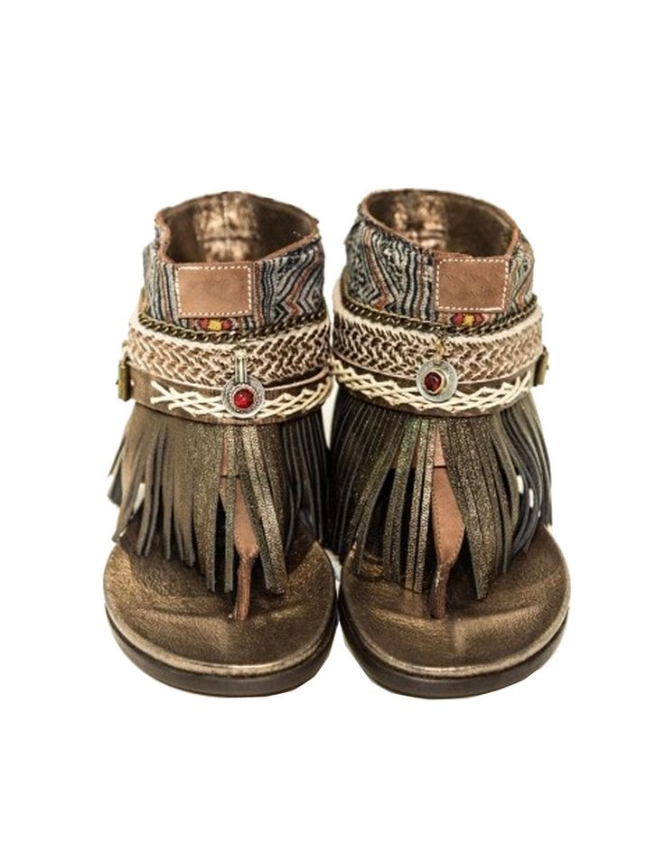 NOW IN STOCK!! One-Of-A-Kind Handmade Boho Sandals: We LOVE these boho style sandals with fringe available in the USA only at Swank! Please see the SIZE CHART below to order your size. It is different