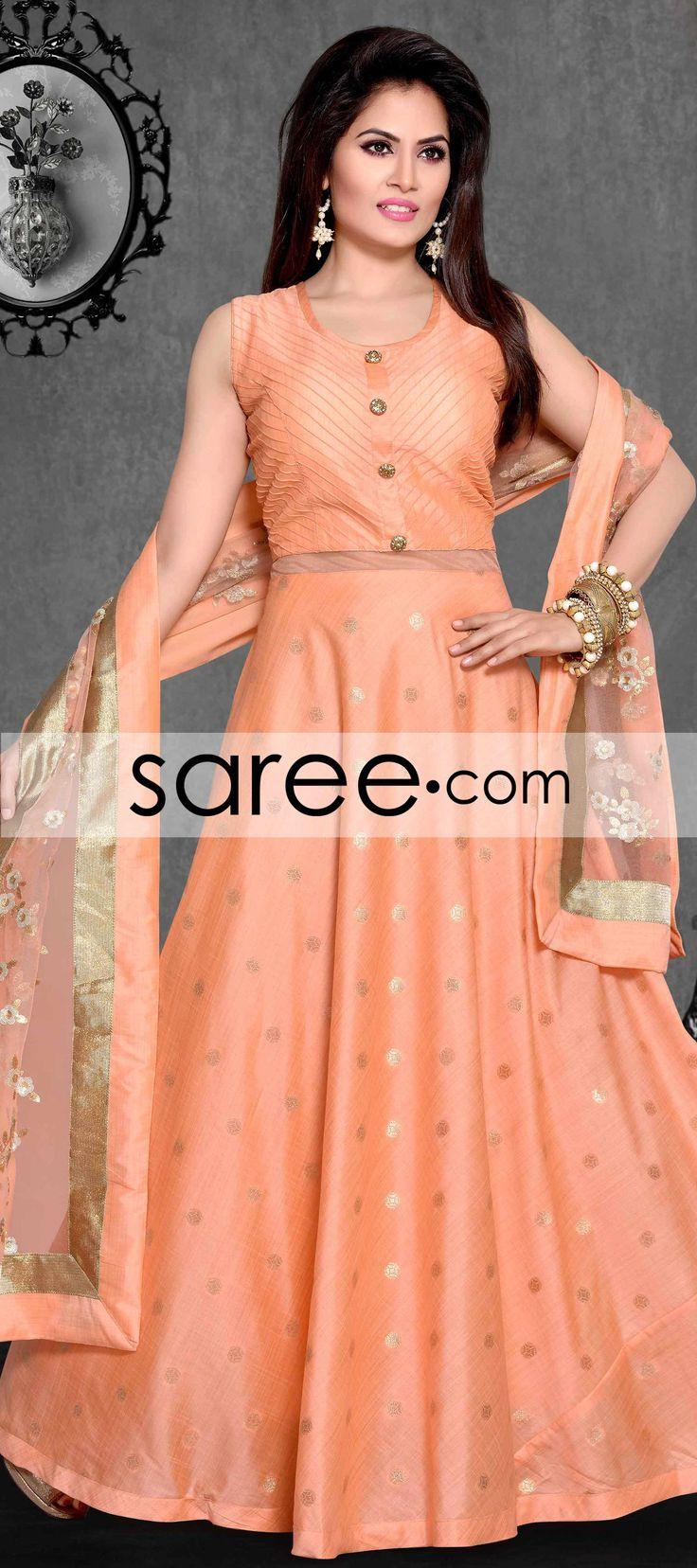Light Orange Chanderi Anarkali Suit With Weaving