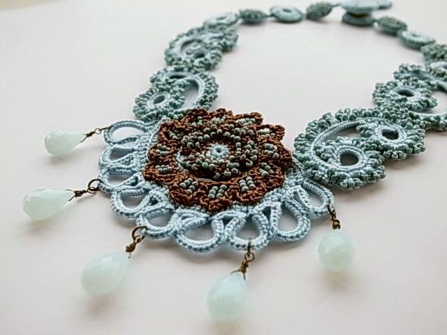 Irish Crochet : Irish Crochet Lace Jewelry (Archaic Beauty II) Fiber Art Necklace Bib ...