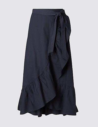 Pure Cotton Striped A-Line Wrap Midi Skirt   M&S