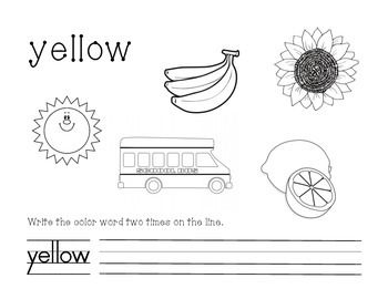 Yellow Color and Write Worksheet Preschool Math Yellow
