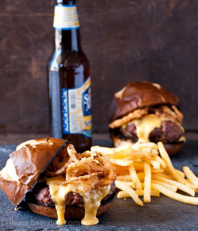 I present to you, beer cheese burgers! Served on pretzel buns and topped with fried stuff.