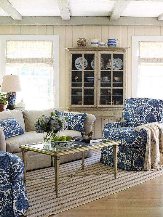 Neutrals With This Gorgeous Blue Print Makes Living Room Very Cottage Chic More