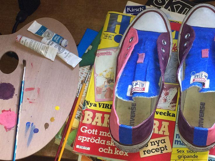 Colorblock målade skor