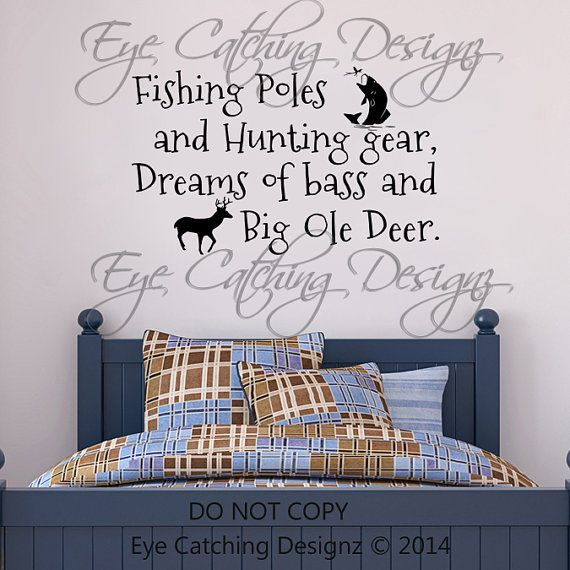 Fishing Poles Hunting Gear Dreams Of Bass Big Ole Deer Country Hunting Antlers Bedding Bedroom Wall Decal Home Decor Vinyl Art Nursery Decor