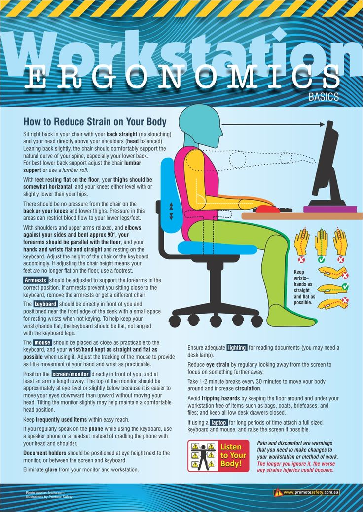 Safety At Work : Workstation ergonomics safety poster a size workplace