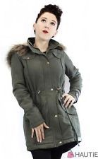 HAUTIE WOMENS FAUX FUR HOODED FISHTAIL LADIES PARKA JACKET MILITARY COAT in Clothes, Shoes & Accessories, Women's Clothing, Coats & Jackets | eBay