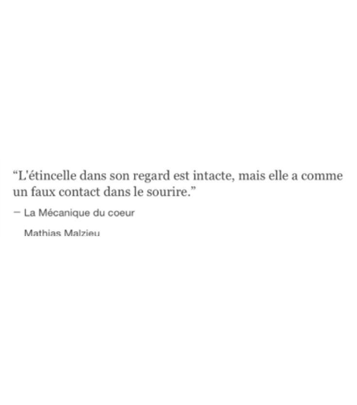 """""""L'étincelle dans son regard est intacte, mais elle a comme un faux-contact dans le sourire."""" Mathias Malzieu """"La mécanique du cœur"""""""