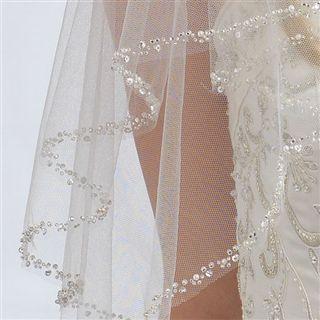 2-layer Beaded wedding Veils, lace wedding veils, beaded bridal veils