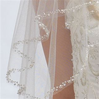 fashion clara delicate beaded wedding veil layer usabride accessory