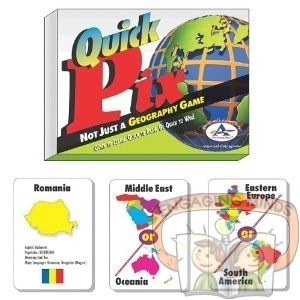 In Quick Pix Geography, you learn what region of the world (Western Europe, South America, etc.) countries are located.   Level: Ages 7+ for 2-6 players   Suitability: Anyone!