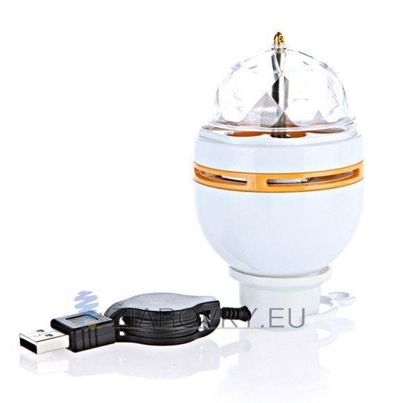 LED žiarovka, LED žiarovka na USB, na diskotéku, na javisko, na party, originálna RGB LED žiarovka, prenosný dizajn, RGB, RGB kryštáľ, rgb led, rgb žiarovka, Rotujúca LED žiarovka, Rotujúca LED žiarovka na USB, Špeciálny háčik na zavesenie, tanečnej sály, USB rozhranie, v bare, v domácnosti, večierky, Vysoká odolnosť vočí nárazom, žiarovka, žiarovka do baru, Žiarovka je super doplnok, žiarovka s efektom, žiarovka so skvelým svetelným efektom, zlepšenie nálady.