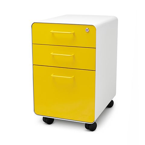 White + Yellow West 18th Rolling File Cabinet | 3 Drawer File Cabinet |  Poppin