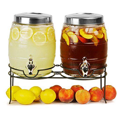 dual barrel beverage dispenser with stand 10ltr drinks dispenser barrel drinks - Drink Dispensers