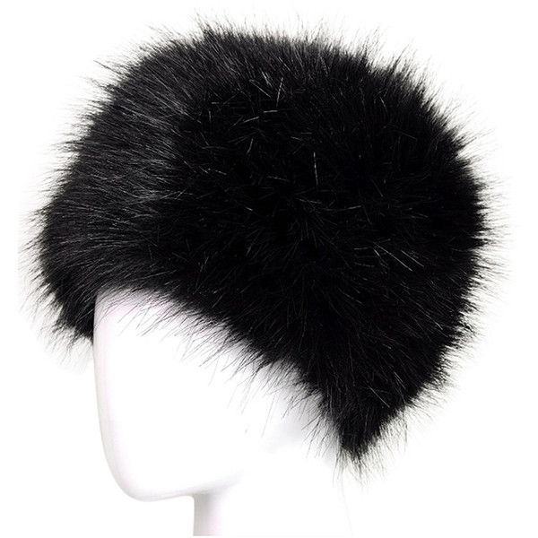 Womens Warm Faux Fox Fur Hat Russian Style Winter Cap Black (30 PEN) ❤ liked on Polyvore featuring accessories, hats, black, caps hats, faux-fur hat and fox fur hat