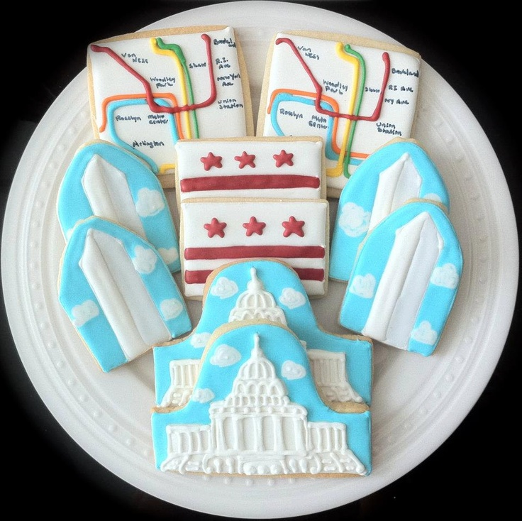 Wedding gift favors...Washington DC Decorated Cookies, capitol building, flag, metro map, election year. $42.00, via Etsy.