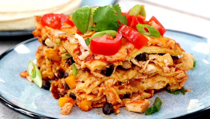 Chicken Enchilada Casserole Greta Podleski cooks up a delicious casserole topped with black beans and butternut squash!