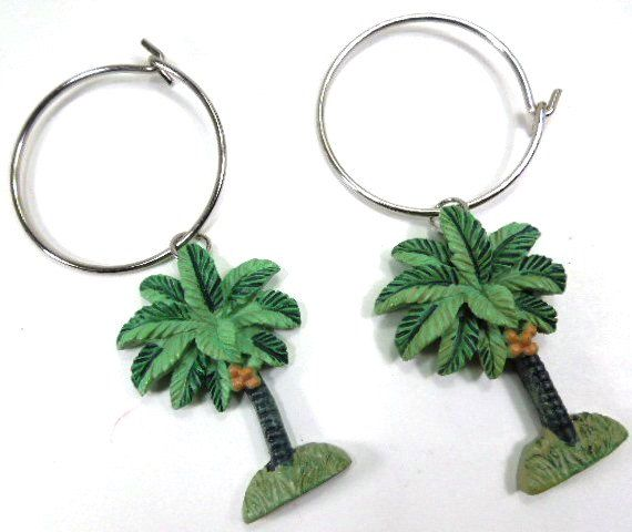 Tropical Shower Curtain Rings, Palm Tree Curtain Rings, Set of 9, | Syroco curtain hooks | bath decor | vintage | home decor | curtain rings | etsy