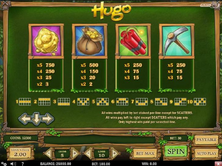 Hugo casino slot game has 13 signs that may convey you big coins rewards. To win, the sign must be lined up from left to right. You want to get a minimum of 3 sign combined, to a maximum of 5. The more combined sign there are, the higher the reward.