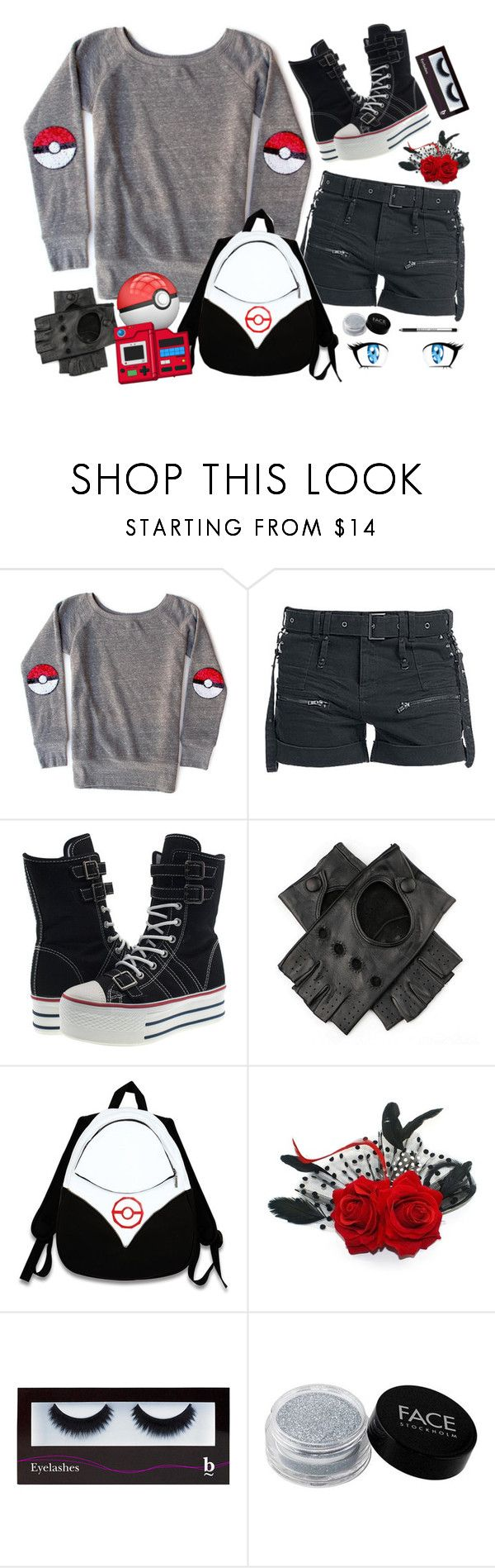 """""""Feminine Pokèmon Trainer"""" by xx-prince-gumball-xx ❤ liked on Polyvore featuring Black, Valor, BBrowBar, FACE Stockholm and CuteCosplays"""