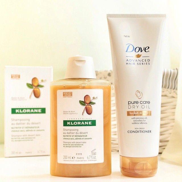 Drugstore cosmetics for fry hair  Dove Pure Care Dry Oil Klorane wyciąg z drzewa egipskiego szampon