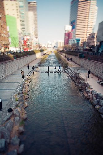 Cheong-gye-cheon (South Korea). A raised highway was demolished and the ground dug up to 'daylight' this long-buried stream. It transformed Seoul's centre, creating a riverside park and walking course that's a calm respite from the surrounding commercial hubbub.