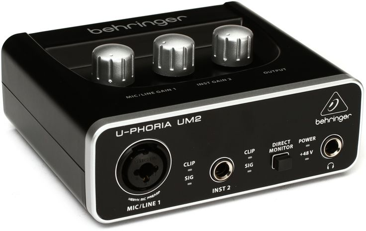 48kHz, 2-channel USB Audio Interface with 1 XENYX Preamp, Phantom Power, and Instrument Input