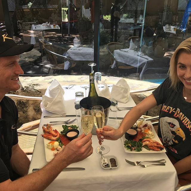 Lunchtime  with the Bachelor AU's @richie_strahan and @alexandranation at Karma Rottnest as part of our #KarmaResortsRottnestChannelSwim celebrations! #ExperienceKarma #KarmaResorts #KarmaRottnest #WesternAustralia #Followme #Yum #igers