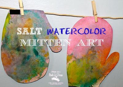 Salt Watercolor Mitten Art - so easy and fun and the end result is a funky piece of art that children will love. Great as a reading response activity to  The Mitten by Jan Brett.