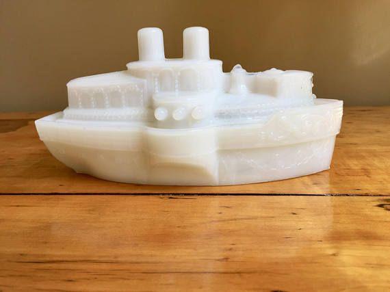 Ship Decor Boating Gifts Boat Nautical Decor Sailing Gift Vintage Nautical Milk Glass Bowl USS Maine Cruise Ship Military Gifts Battleship