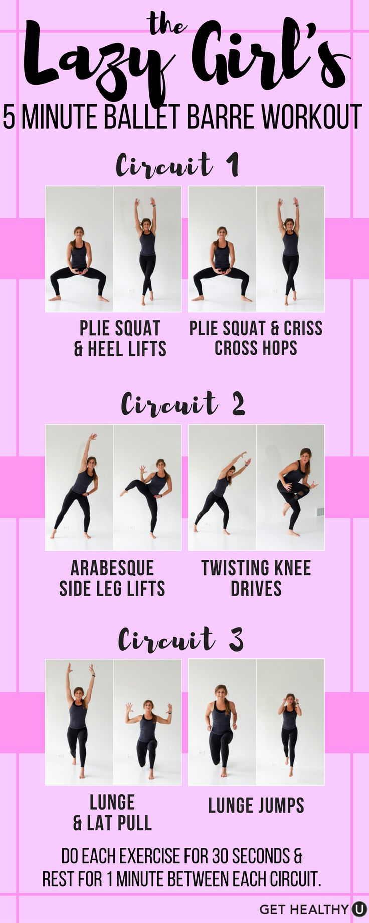 Try this quick HIIT Ballet Barre circuit workout for that strong dancers body you've been dreaming of! This Lazy Girl's 5 Minute Ballet Barre Workout is a quick & simple HIIT workout routine that will help get you stronger, leaner, and more toned!