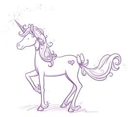 Cute fantasy unicorn with flowers and ribbons. Hand drawn vector cartoon doodle illustration