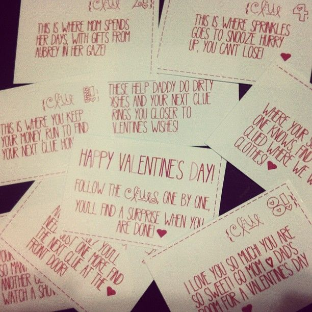 Valentines day scavenger hunt for boyfriend